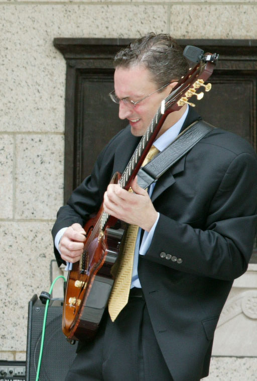 guitarist Brant Grieshaber playing with Boston Jazz Quartet